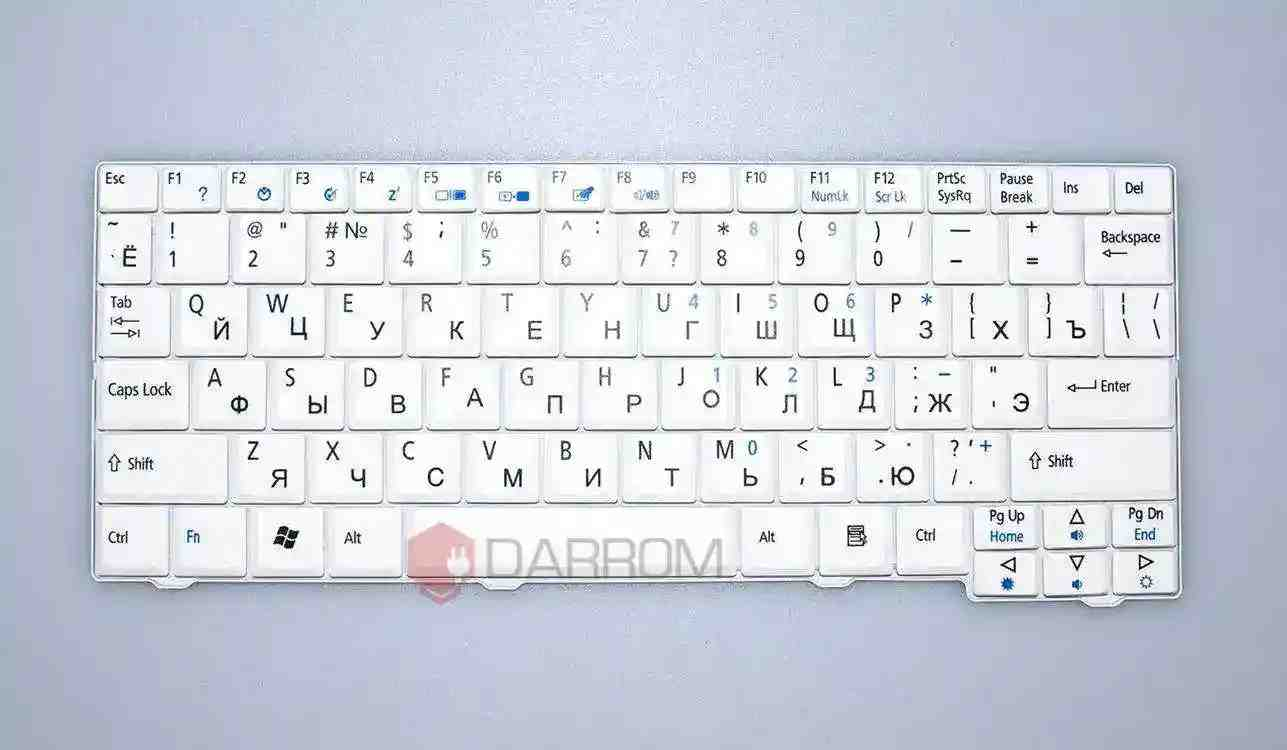 Клавиатура Acer Aspire One 521 532 D255 Gateway LT21 RU White  №1