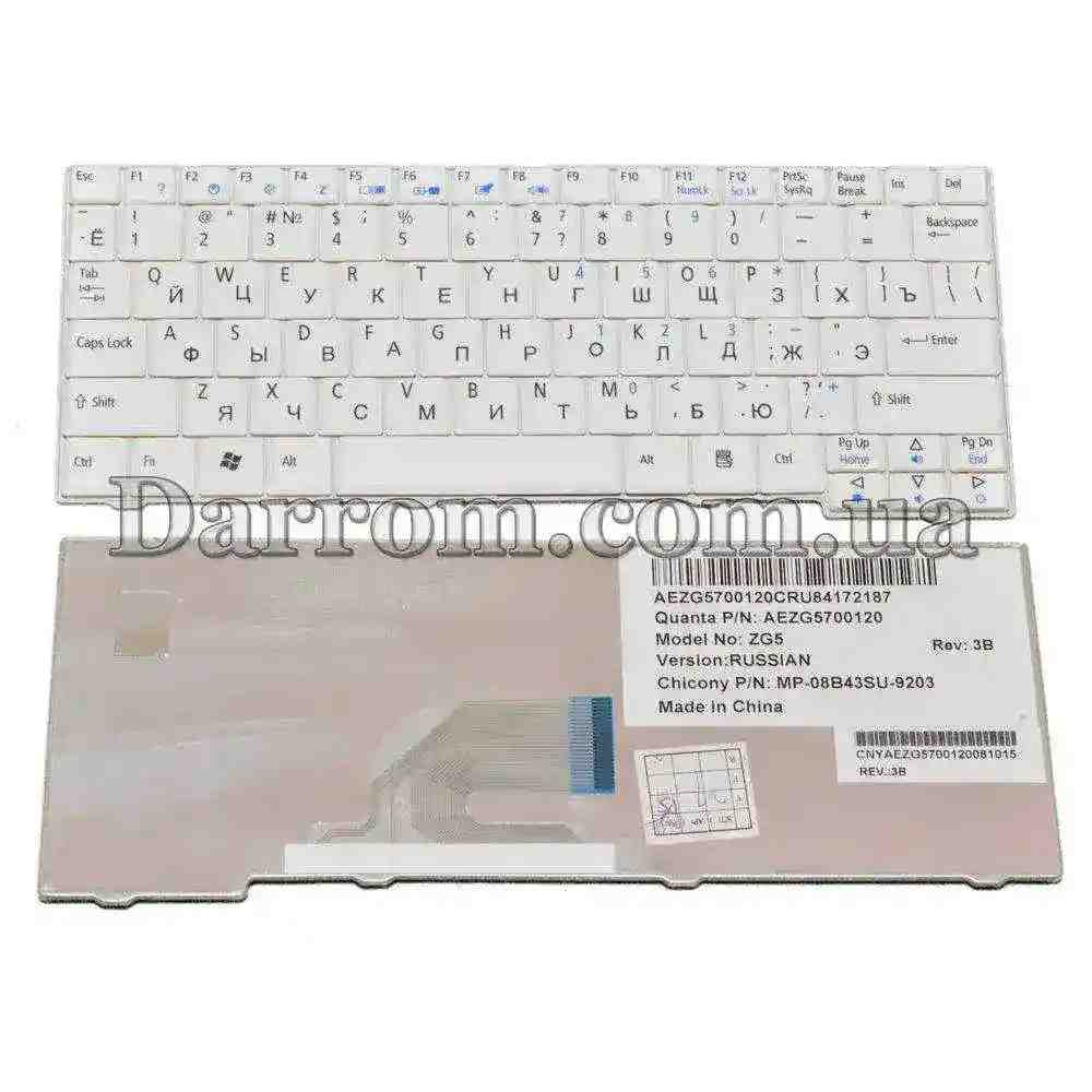 Клавиатура Acer Aspire One 531H D150 D250 P531 A11O A150 eMachines 250 Gateway LT1000 RU White